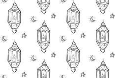 Bosquejo del fondo de Ramadan Lantern Seamless Pattern White Fotos de archivo