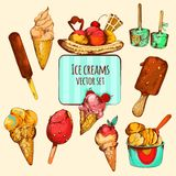 Bosquejo del helado coloreado libre illustration