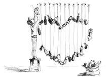 Bosquejo del humor con las botellas del corazón y de la basura Fotografía de archivo libre de regalías