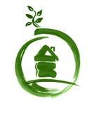 Bosquejo del icono del Web de la casa de Eco pintado ilustración del vector
