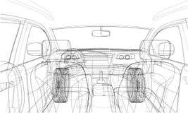 Bosquejo del interior del coche Representación del vector de 3d