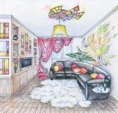 Bosquejo del interior de la sala de estar Fotografía de archivo