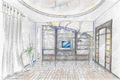 Bosquejo del interior del sentar-cuarto Foto de archivo libre de regalías