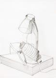Bosquejo del lápiz, composición con los objetos Imágenes de archivo libres de regalías