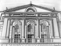Bosquejo del lápiz de la fachada del edificio Fotografía de archivo
