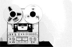 Bosquejo del lápiz de un estéreo del vintage Imágenes de archivo libres de regalías