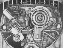 Bosquejo del lápiz de un motor de VW Foto de archivo