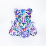 Bosquejo del león en las acuarelas del estilo en el fondo blanco stock de ilustración
