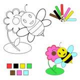 Bosquejo del libro de colorante - abeja y flor Foto de archivo