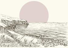 Bosquejo del mar, de la playa y del acantilado stock de ilustración