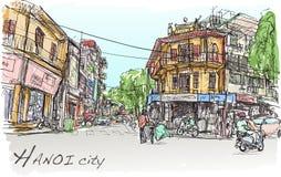 Bosquejo del mercado callejero y del edificio viejo, gente de la ciudad de Hanoi de la demostración Foto de archivo