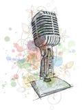 Bosquejo del micrófono de la vendimia y ornamento floral Imagen de archivo libre de regalías