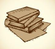 Bosquejo del monocromo del vector Pila de libros Fotos de archivo libres de regalías