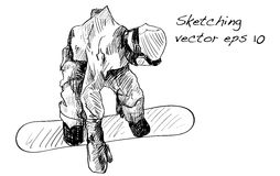 Bosquejo del montar a caballo del hombre del tablero de la nieve, deporte de invierno, coll de la snowboard Imagen de archivo libre de regalías