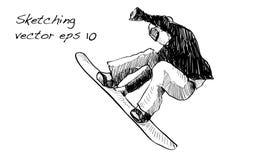 Bosquejo del montar a caballo del hombre del tablero de la nieve, deporte de invierno, coll de la snowboard Fotos de archivo