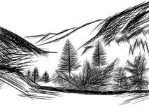 Bosquejo del paisaje de la montaña en blanco y negro Foto de archivo libre de regalías