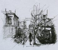Bosquejo del paisaje urbano ilustración del vector