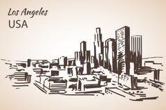 Bosquejo del paisaje urbano de Los Ángeles ilustración del vector
