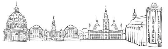 Bosquejo del panorama de Copenhague Dinamarca stock de ilustración