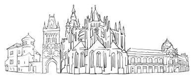 Bosquejo del panorama de la República Checa de Praga libre illustration