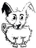 Bosquejo del perro adorable con la capa rizada Trayectoria de recortes ahorrada Fotografía de archivo libre de regalías