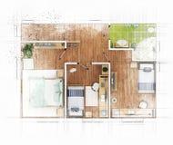 Bosquejo del plan de piso Foto de archivo libre de regalías