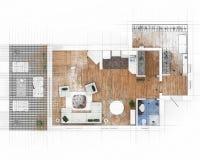 Bosquejo del plan de piso Fotografía de archivo