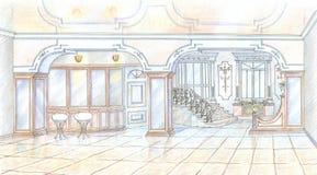 Bosquejo del restaurante en estilo clásico Imagen de archivo