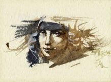 Bosquejo del retrato stock de ilustración