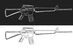 Bosquejo del rifle de asalto Ejemplo clásico del vector del armamento Dibujo del estilo del lápiz stock de ilustración