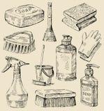 Bosquejo del servicio de la limpieza stock de ilustración