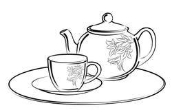 Bosquejo del servicio de té Fotografía de archivo
