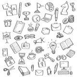 Bosquejo del símbolo y de los materiales de oficina del negocio Foto de archivo