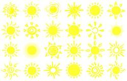 Bosquejo del sol del verano Soles exhaustos de la mano, luz del sol caliente de la salida del sol y sistema feliz del vector de l libre illustration