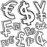 Bosquejo del surtido del símbolo de dinero en circulación Fotos de archivo libres de regalías