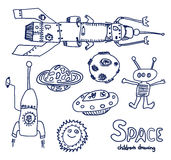 Bosquejo del UFO y del espacio Foto de archivo