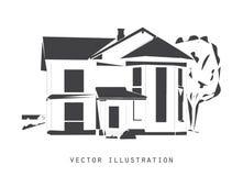 Bosquejo del vector de la casa de madera Fotografía de archivo libre de regalías