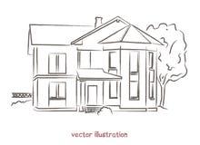 Bosquejo del vector de la casa de madera Imágenes de archivo libres de regalías