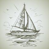 Bosquejo del vector de la escena del barco de navegación imagen de archivo libre de regalías