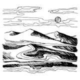 Bosquejo del vector de las dunas de arena stock de ilustración