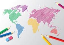 Bosquejo del vector de una correspondencia de mundo ilustración del vector