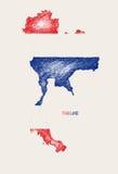 Bosquejo del vector del mapa de la bandera de Tailandia para arriba Imagenes de archivo