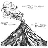 Bosquejo del vector del volcán fotografía de archivo libre de regalías