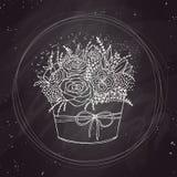 Bosquejo del vector, flores del día de fiesta en la pizarra Imagen de archivo libre de regalías