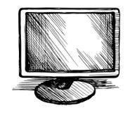 Bosquejo del vector del monitor de computadora stock de ilustración
