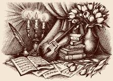 Bosquejo del vector Violín en los libros viejos Imagen de archivo libre de regalías