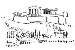 Bosquejo del vintage de Grecia de la acrópolis de Atenas Libre Illustration