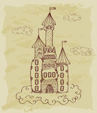 Bosquejo del vintage del castillo Imagen de archivo libre de regalías