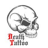 Bosquejo del vintage del cráneo humano para el diseño del tatuaje Fotografía de archivo libre de regalías