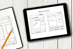 Bosquejo del wireframe del sitio web en la pantalla digital de la tableta Fotografía de archivo libre de regalías